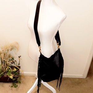 REBECCA MINKOFF Black Leather Fringe Crossbody Bag